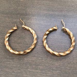REAL GOLD Twisted Hoop Earrings